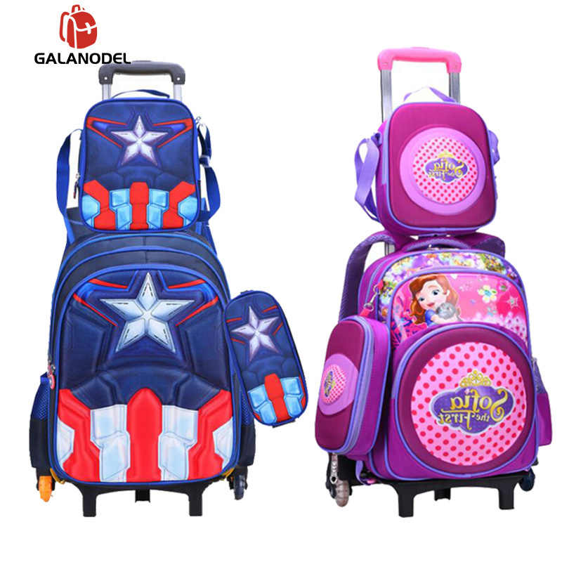 3pcs/set Children Kids School Bags with Wheel Trolley Luggage for Boys Girls Backpack Mochila Infantil Bolsas Student Backpacks