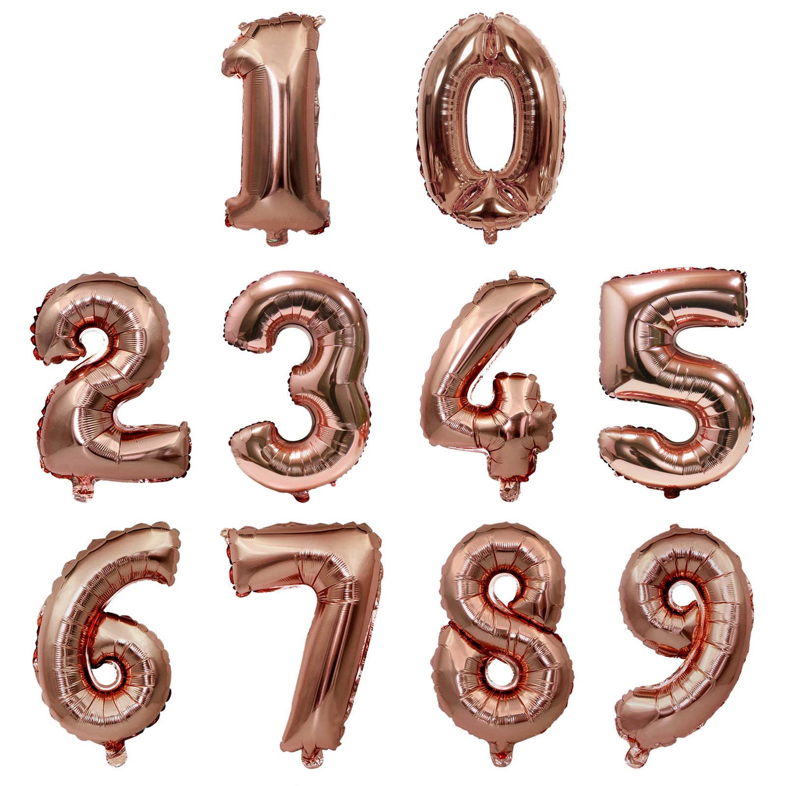 40 inç folyo balon büyük helyum numarası balonlar düğün dekorasyon doğum günü partisi hediyelik eşya şekeri altın gümüş pembe mavi