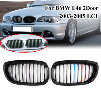 MagicKit NEW Pair Glossy Black M Color Front Bumper Kidney Hood Car Grill Grilles For BMW E46 3 Series 2DR Coupe 02-05 LCI 320ci