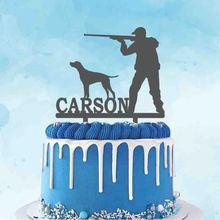 Персонализированный охотничий Топпер для торта с именем на заказ, силуэт охотника и охотника для мужской вечеринки на день рождения, украше...