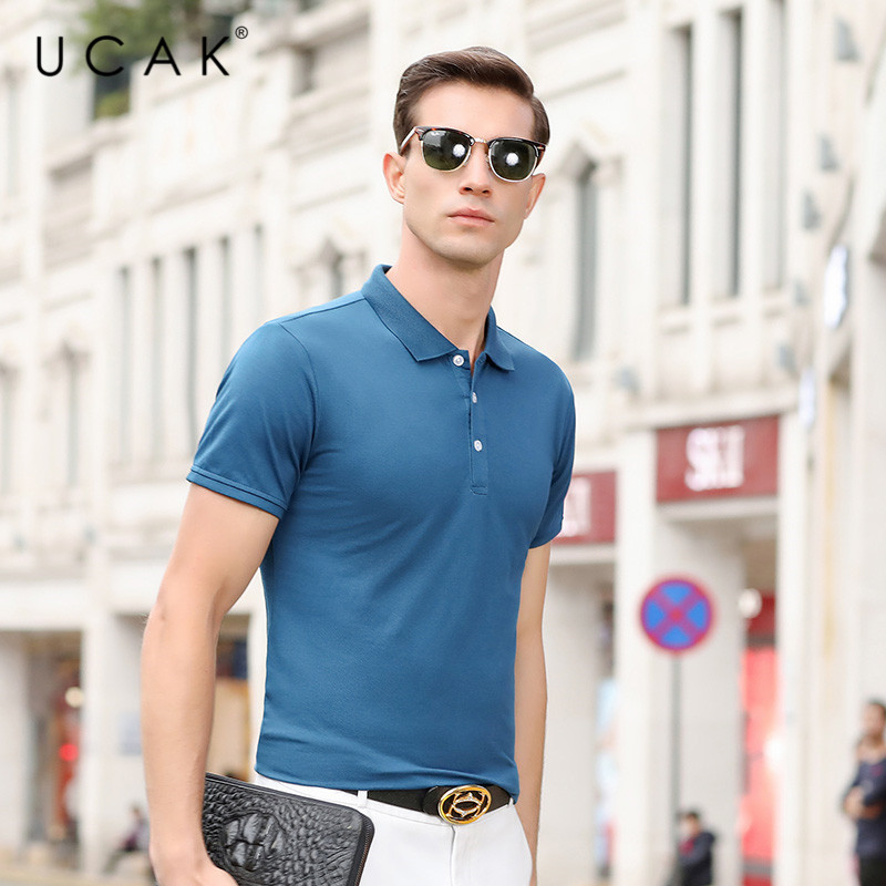 UCAK Brand Solid Color Men's T Shirt Homme Summer Casual Turn-dwon Collar Tshirt Streetwear Short Sleeve T-Shirt Clothes U5241