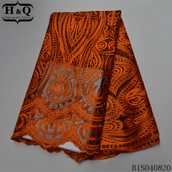 H&Q orange african lace fabric embroidered with beads and stones 5 yards/piece french net laces mesh fabrics for garment sewing