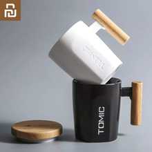 Youpin TOMIC كوب سيراميك إبداعي ، بسعة 400 مللي ، مع غطاء من الخيزران ، بمقبض خشبي ، فنجان شاي وقهوة ، للاستخدام اليومي في المكتب