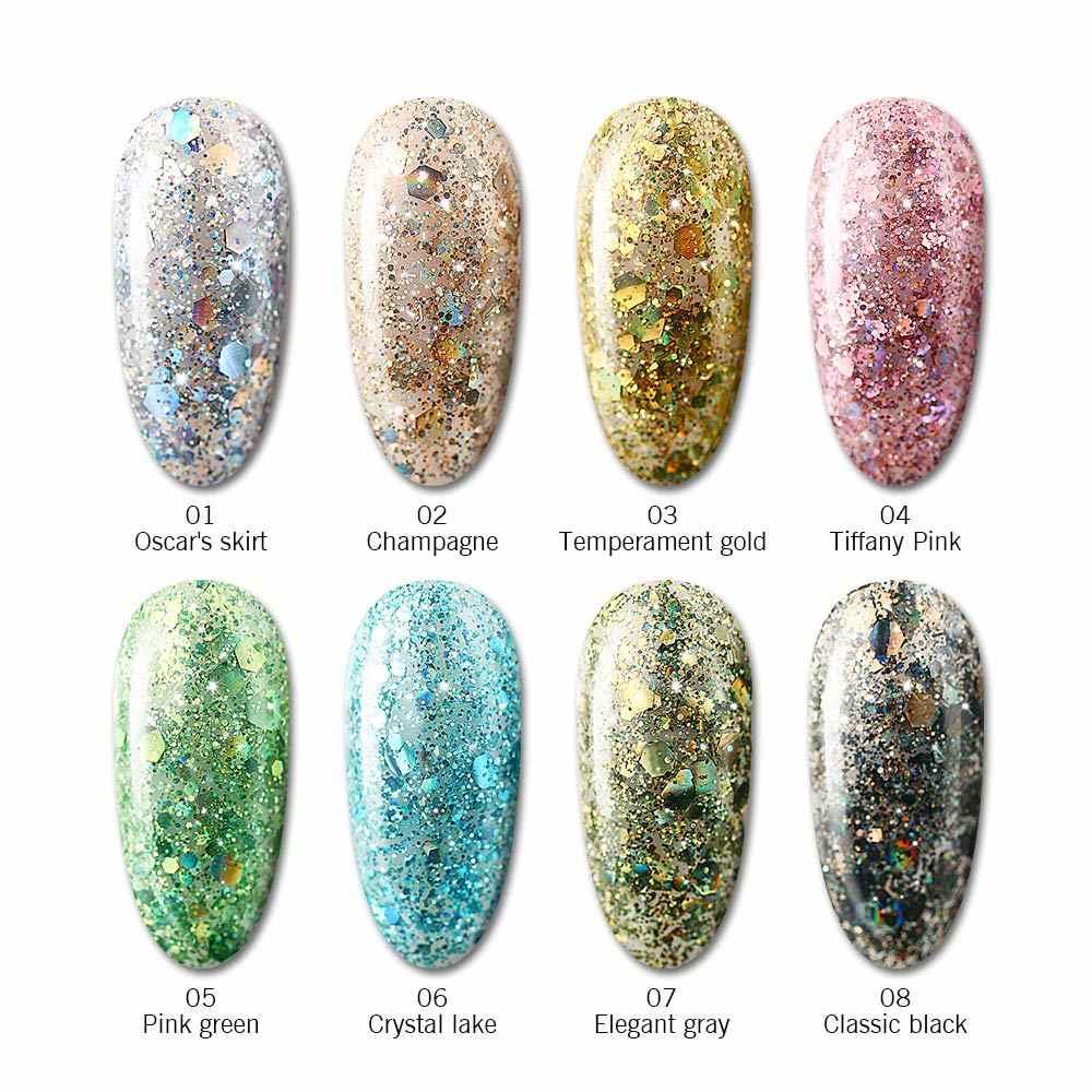 Modelones süper platin tırnak jeli süper parlayan renk jel boyalar kristal cila Nail Art Glitter elmas kapalı islatın UV/LED jel