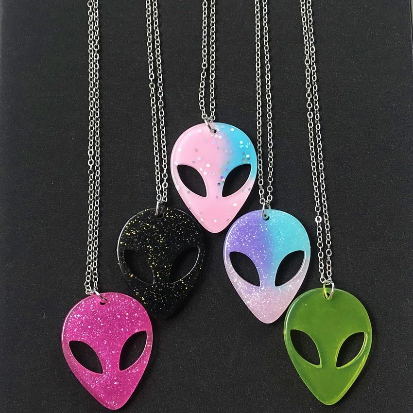 Женское Ожерелье, 1 шт., разноцветное милое блестящее полимерное ожерелье с плоской спинкой, инопланетянин, подарок на день рождения, Модная ...