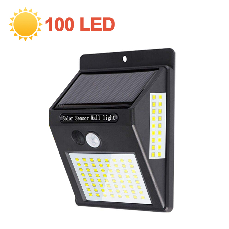 2pcs 100LED Solar Light Sensor Auto Motion Wall Waterproof Outdoor Garden Street Public Road Night Bulb Flashlight Wall Light