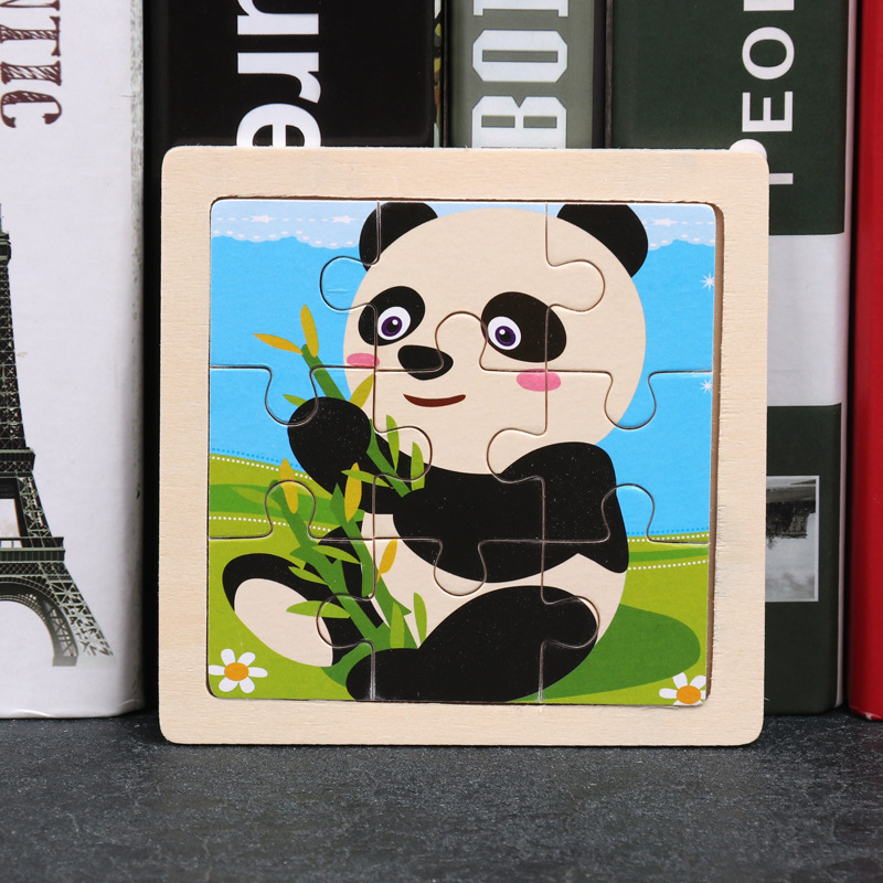 3D Wood Cartoon Cute Panda Puzzle Children's Toys Baby Learning Education Paper puzzle