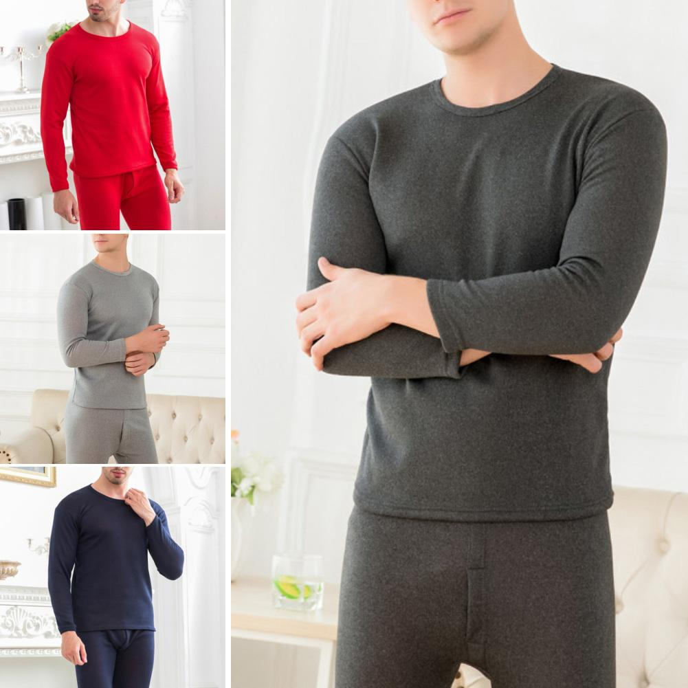 2Pcs Men Winter Autumn Thicken Warm Thermal Underwear Top Long Pants Suit Set Comfortable Soft Home Thermal Underwear