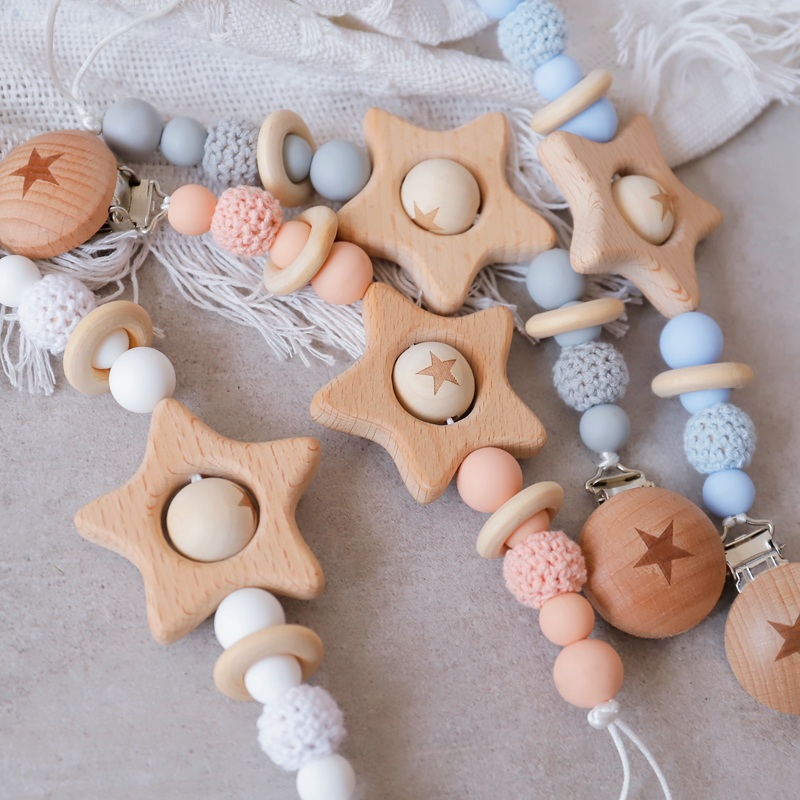 1PC Baby Teether  Pacifier Chain Personalized Beech Star Wooden Clip Geometric Crochet Beads Pacifier Clip Chain Tiny Rod Toys