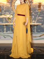 Elegant Cloak Sleeve Long Party Dress Women Summer Halter Ruffled Casual Beach Boho Maxi Dresses Yellow 2020 Vestido