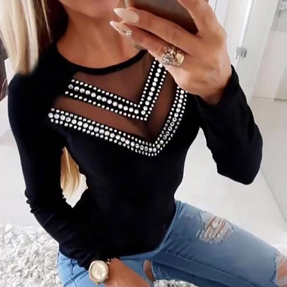S-5XL Beading Tight Tee Shirt Femme Autumn Plus Size Female Long Sleeve Mesh Sexy Black T Shirt Women Rhinestone Top T-shirt D30