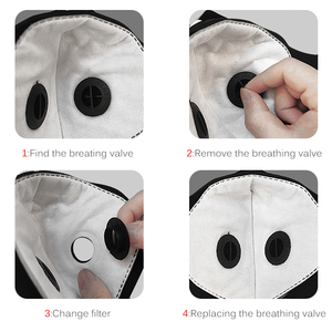 Image 4 - Dust MasKs Cycling Face PM 2.5 Anti Pollution Filter Bike Masks Activated Carbon Breathing Valve Sport Masks With 2 Filter