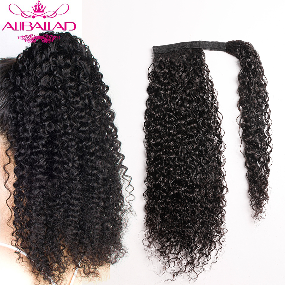 Kinky Curly Wrap Around Ponytail Human Hair Brazilian Curly Pony Tail Remy Hair Clip In Ponytail ExtensionsFor Women 120g