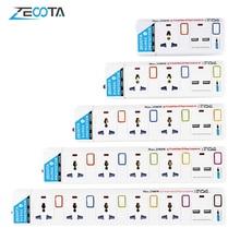 電源タップ、1/2/3/4/5普遍的な方法acコンセントプラグ、2 usbポート個別に切り替える延長ソケット、サージ、過負荷保護