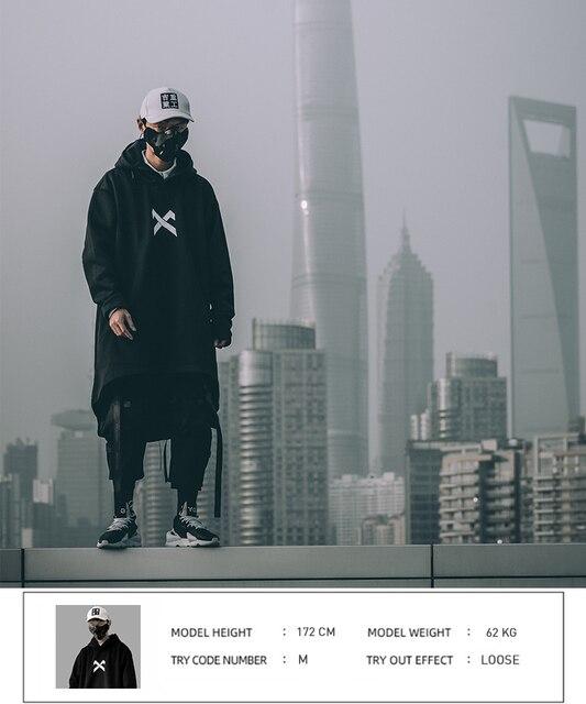 japanese sweatshirt Mens Oversize Hoodies Long Cloak Hip Hop Gothic Outwear Streetwear Coat Harajuku Style Male Tops michalkova 4