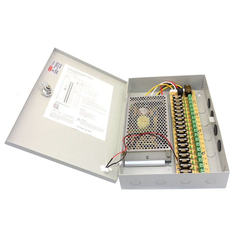 Hot 12V DC 10A 18 CH Channel BOXED POWER SUPPLY UNIT For CCTV Surveillance Camera