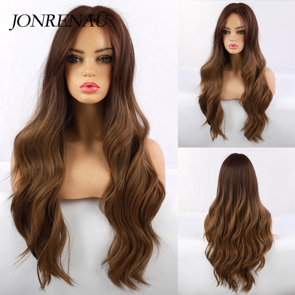JONRENAU Long Natural Wave Synthetic Ombre Dark Brown To Golden Blonde Wigs For White/Black Women Party Costume