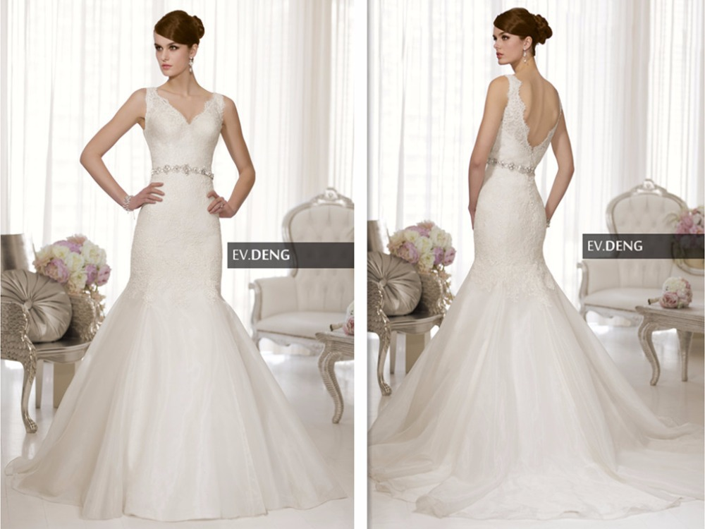 2016 Hot Design Organza Custom-made Vestido De Noiva Casamento Bridal Gown Sexy Backless Appliques Lace Mermaid Wedding Dress