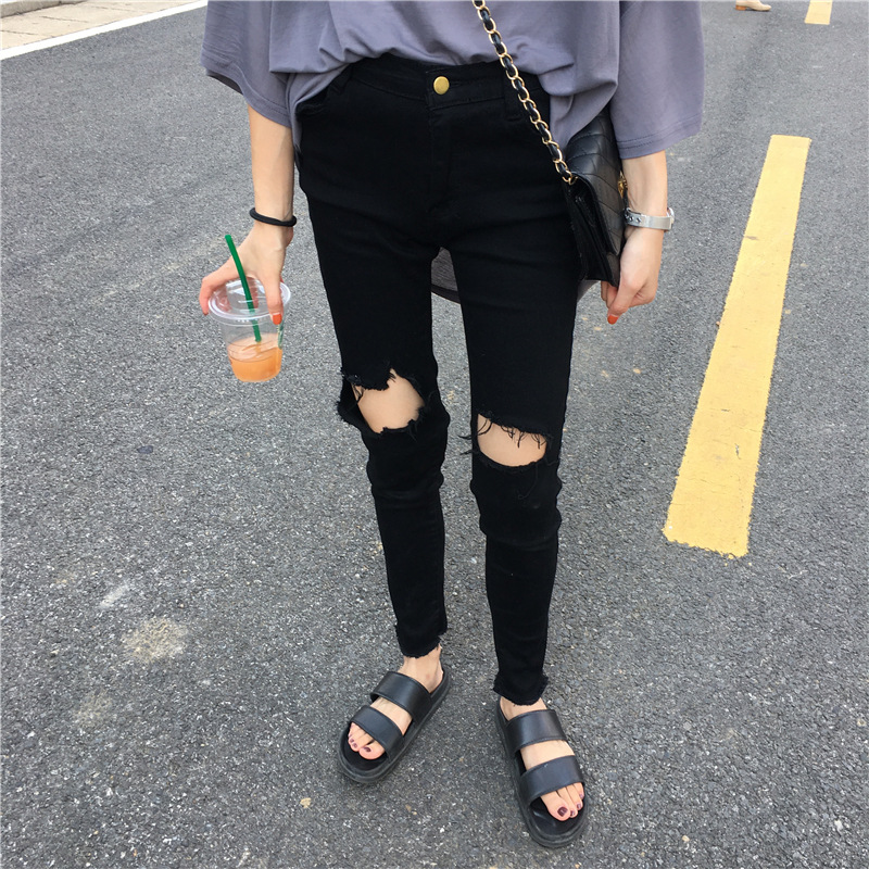 Autumn Clothing Korean-style Large Size 200 Of Fat Mm High-waisted With Holes Capri Jeans Women's Elasticity Loose-Fit Slimming