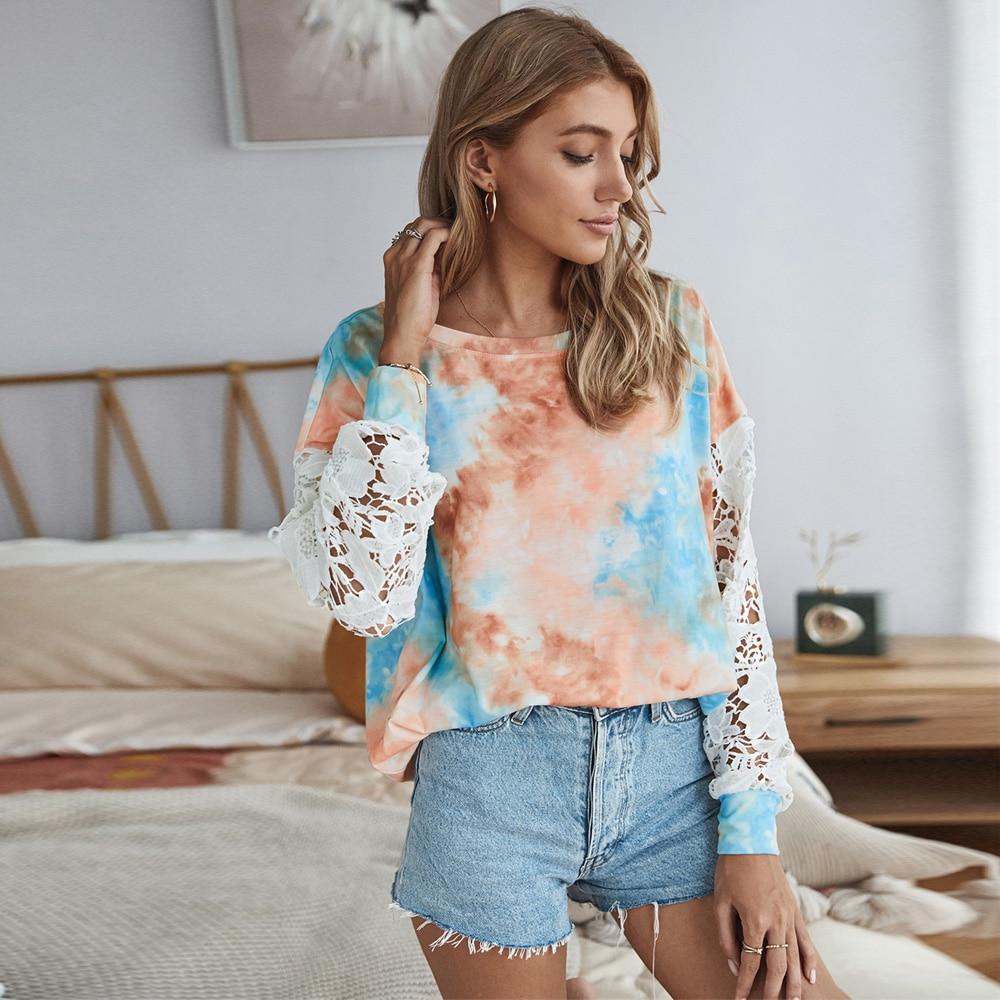 Купить модная женская футболка с кружевными вырезами лоскутная футболка