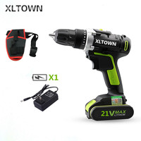 XLTOWN 21v cordless Electric Drill two speed rechargeable lithium battery multi purpose electric screwdriver