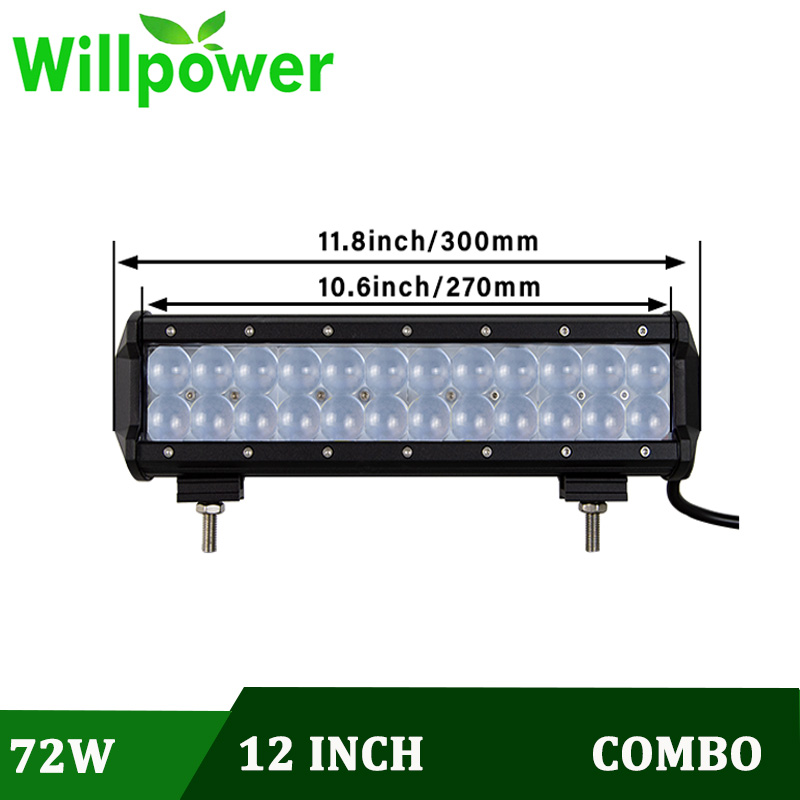 Willpower 4D Lens 12 Inch 72W Fish Eyes LED Light Bar Spot Flood Combo Led Work Light for Driving Offroad Car Automobile Tractor Boat 4WD Truck 4x4 SUV ATV 12V 24V