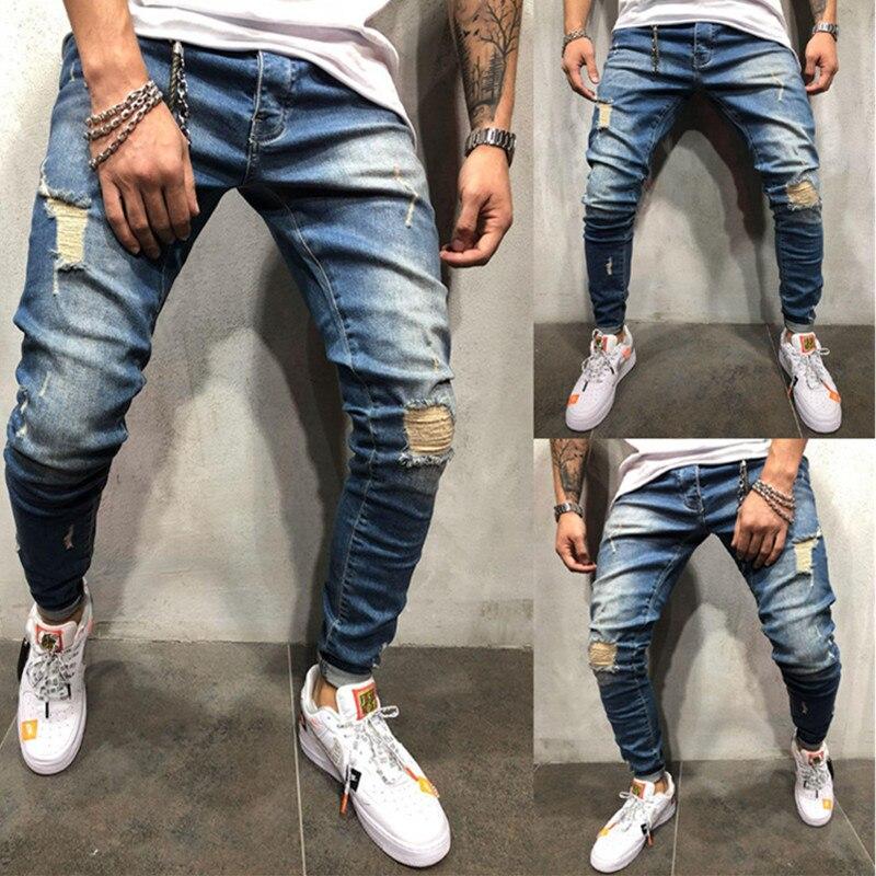 Jeans Men's Autumn Winter Jogger Patchwork Casual Drawstring Jogging Pants Pants Pants Vaqueros Hombre Plus Size Men Jeans