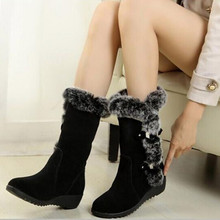 New 2020 Winter Women Boots Casual Warm Fur Mid-Calf Boots Shoes Women Slip-On Round Toe Wedges Snow Boots Muje Plus Size 42