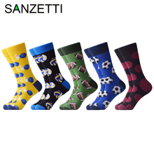 SANZETTI 5 Pairs/Lot New Style Men Casual Combed Cotton Happy Crew Socks Golf Footbal Pattern Party Gifts Creative Dress