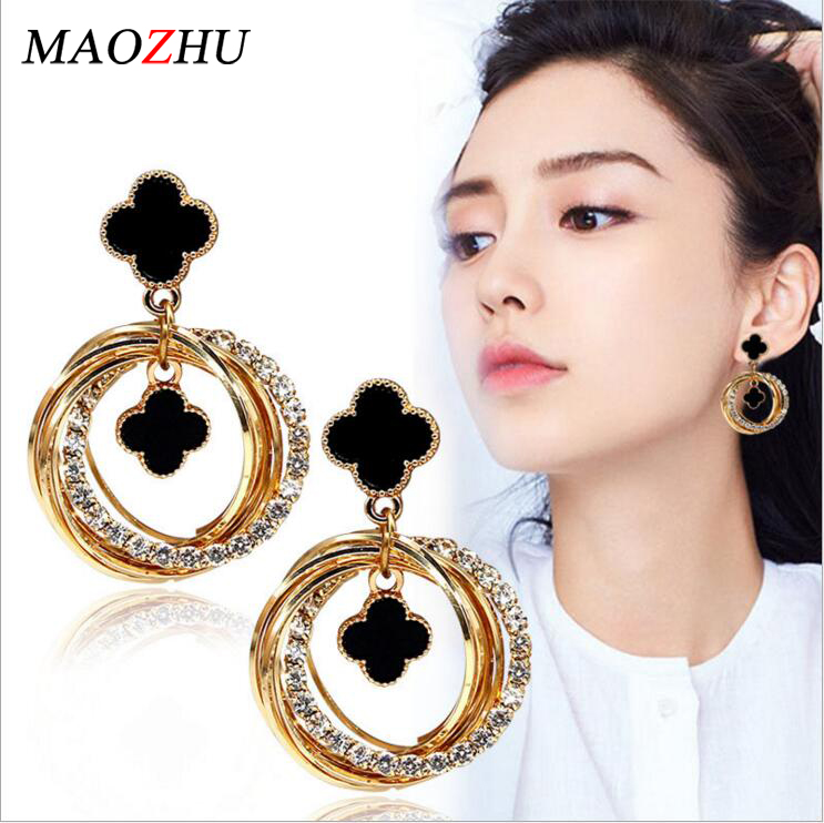 Temperament Earrings Jewelry Four-Leaf Clover Wholesale Fashion Personality Goddess MAOZHU