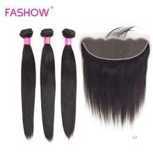 Fashow – mèches brésiliennes Remy avec Frontal Closure, cheveux naturels lisses, couleur 100% naturelle, 13x4, Swiss Lace, 3 lots