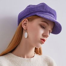 2019 Retro Women Ladies Autumn Winter Beret Hat Solid Color Corduroy Octagonal Cap Denim Female British Painter Hat