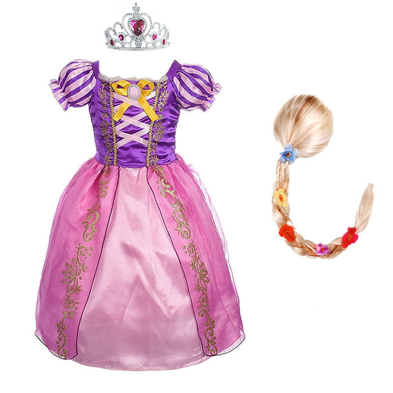 Girls Rapunzel Princess Dress kids Summer Bow Costume With Wig Children Halloween Birthday Carnival Party Cosplay Dress