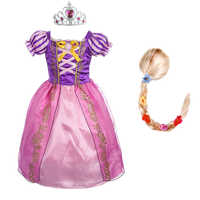 Girls Rapunzel Princess Dress kids Summer Bow Costume With Wig Children Christmas Birthday Carnival Party Cosplay Dresses
