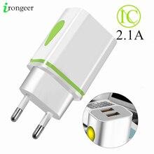 USB מטען קיר מטענים 5V 2.1A מתאם Charing עבור iPhone 11 XR XS מקסימום האיחוד האירופי Plug LED USB טלפון מטען עבור שיאו mi mi הערה 10