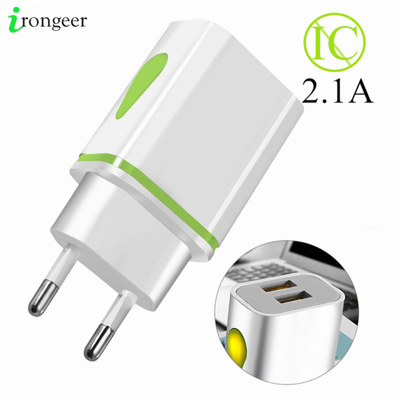 USB Charger Wall Chargers 5V 2.1A Adapter Charing For iPhone 11 XR XS Max EU Plug LED USB Phone Charger For Xiaomi mi note 10(China)