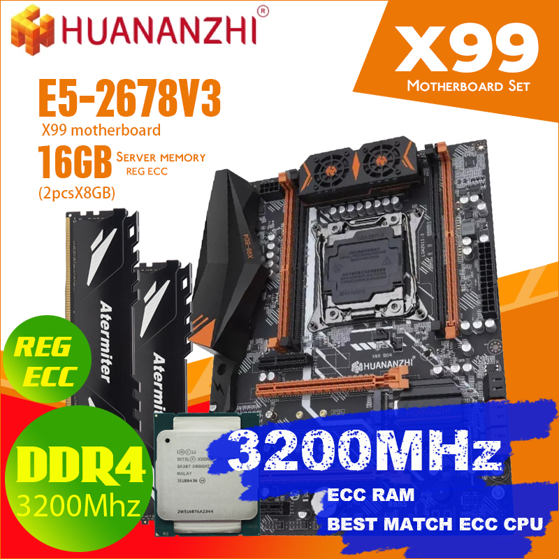 atermiter X99 D4 motherboard set with Xeon E5 2678 V3 LGA2011 3 CPU 2pcs X 8GB = 16GB 2400MHz DDR4 memory|Motherboards| - AliExpress