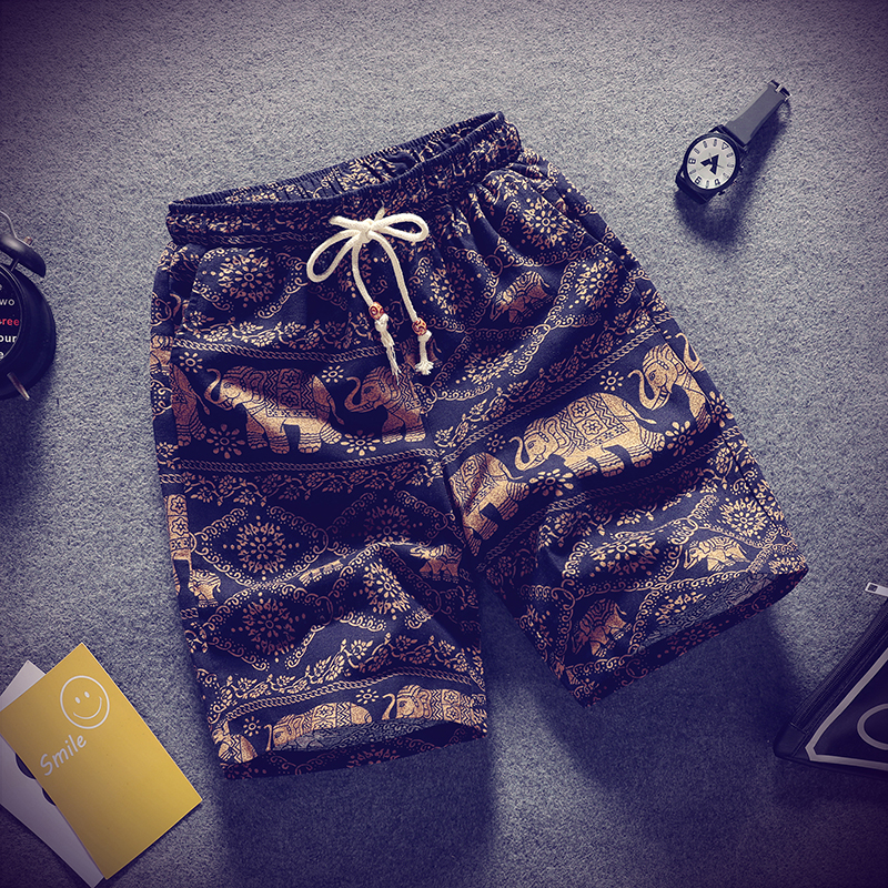 Linen Casual Shorts Men Beach Surf Board Baggy Men Stretch Shorts With Pockets Printed Streetwear Roupas Vanquish Fitness XX60MS