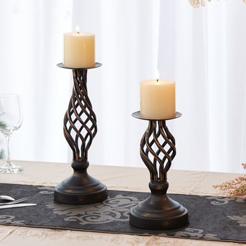 Retro Hollow Iron Candlestick Home Wedding Party Decorations Table Candle Rack Gift