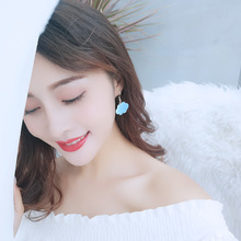 Elegant Valentines Day Gift Drop Earrings Leaf Engagement Imitation Pearl Tassel Korean Fashion Jewelry Long
