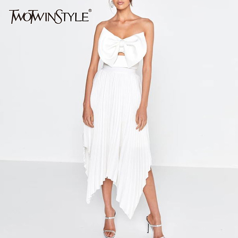 TWOTWINSTYLE Elegant Strapless Dresses Women Bowknot Sleeveless Asymmetrical Dress Female Summer Sexy Clothes 2020 New