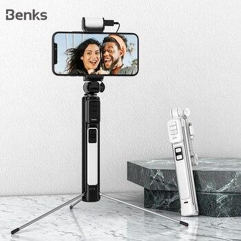 Benks nuevo trípode inalámbrico Bluetooth palo de Selfie extensible para iPhone 11 XR Xiaomi Universal con Control remoto del botón del obturador