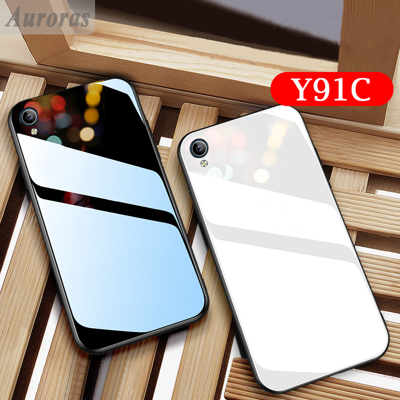 Auroras For VIVO Y91C Tempered Glass Case With Soft TPU Frame Shockproof Cover For VIVO Y91c Cases Funda Vivo Y91c