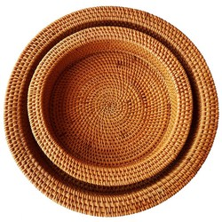 Rattanowa ręcznie tkana okrągła wysoka dekoracja ściany taca serwisowa na stolik dekoracyjny przechowywanie żywności taca  szeroka strona na śniadanie