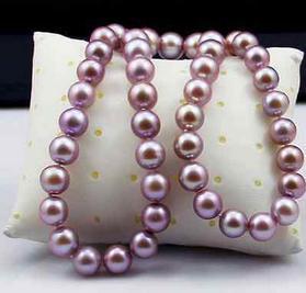 9-10mm naturel mer du sud violet collier de perles 18 pouces S925 argent accessoires