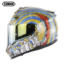 SOMAN 961 ECE уличный шлем, Змеиный мотоциклетный шлем с золотым козырьком, Полнолицевая емкость, моторный велосипед, двойные козырьки, Casco DOT