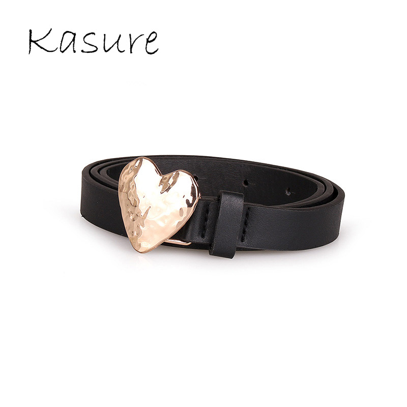 KASURE Woman Cute Solid Heart Gold Metal Buckle Belt Designer Fashion Thin Black PU Belts Jeans Sweet Dress Waistbelt