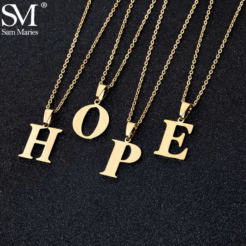 Stainless Steel A To Z 26 Letters Initial Minimalist Necklace For Women Alphabet Pendant Necklace Friends Family Gift Jewelry