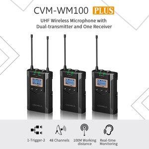 Image 5 - CoMica CVM WM100 PLUS UHF 48 канальная Беспроводная двойная петличная микрофонная система для цифровых зеркальных камер Canon Nikon Sony Panasonic
