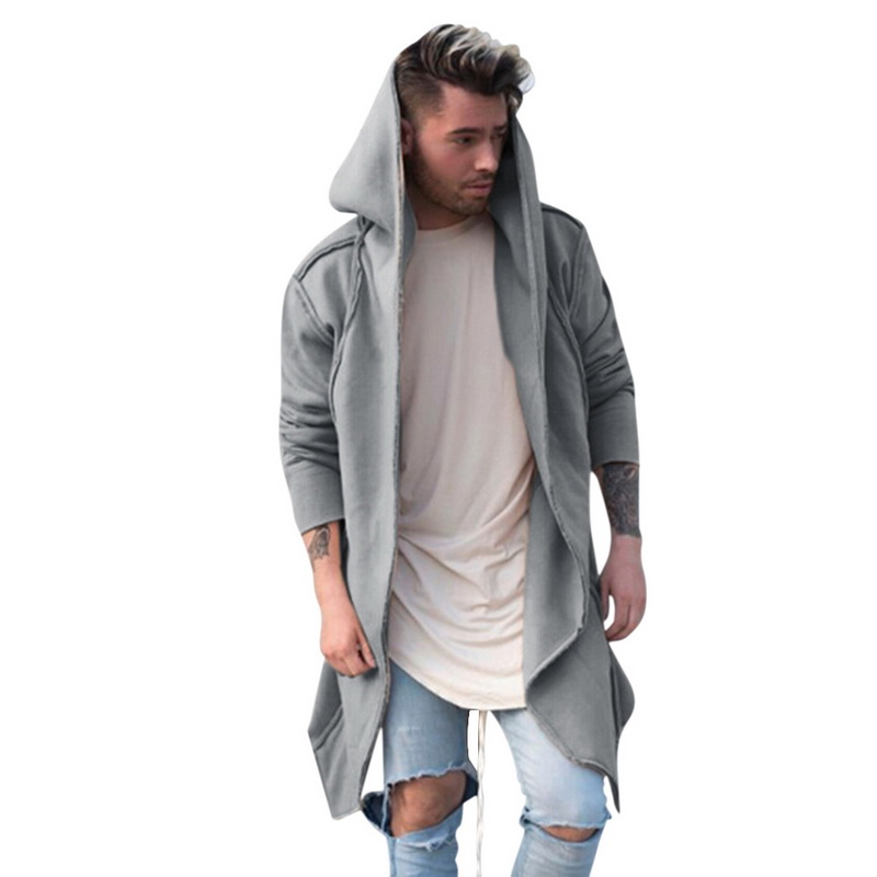 PUIMENTIUA 2019 New Fashion Mens Autumn Unisex Casual Jacket Cardigan Hooded Long Windbreaker Solid Loose Jackets And Coats